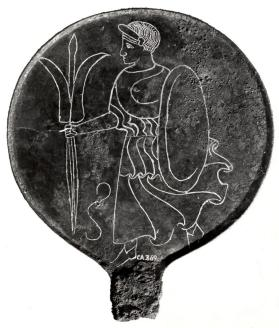 Mirror with Minerva holding a thunderbolt and an oval shield