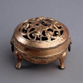Gilt bronze incense burner with cover