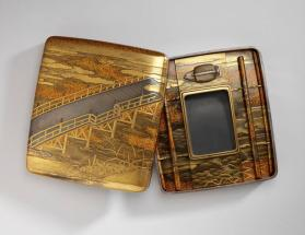 Brush from Suzuri-bako writing set with bridge and landscape near the water motif