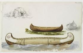 """Three Birchbark Canoes and a Dome-shaped Lodge,"" Southern Algonquian"