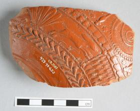 Fragment of Samian ware bowl with running rabbit motif