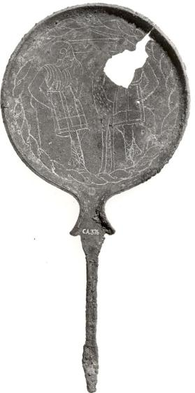 Mirror with mule's head handle