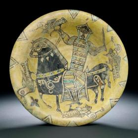 Bowl with horse rider and birds