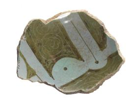 Lustre-ware bowl fragment (base sherd) with kufic inscription