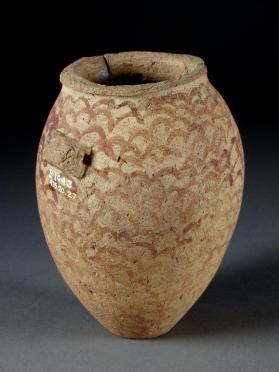 Ovoid hanging jar decorated with scale pattern
