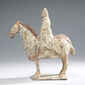 Burial figure of a military attendant on an armoured horse