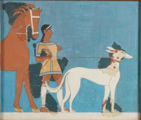 Reproduction of a fresco reconstruction depicting a huntsman with a horse and dog from Tiryns, Greece