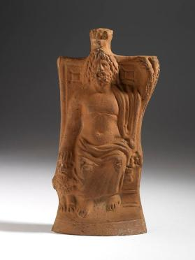Figure of Serapis enthroned with Cerberus