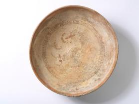 Bowl with bird and chevron motifs