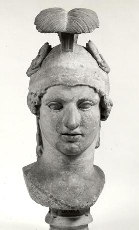 Bust of the goddess Roma wearing a crested helmet