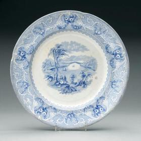 "Dinner plate in ""Lake"" pattern with scene ""The Chaudière Bridge"""