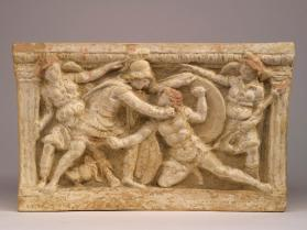 Cinerary chest depicting duel of Eteokles and Polyneikes