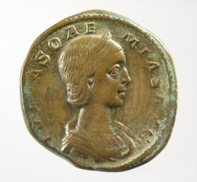 Sestertius coin with bust of Julia Soemias, mother of Elagabalus