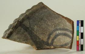 Turquoise black-painted bowl fragment t (rim sherd)