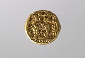 Bezel from a wedding ring depicting Christ and the married couple