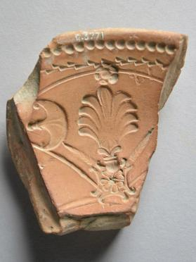 Fragment from an Arretine relief ware mould with palmettes
