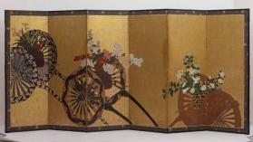 Folding screen with three flower carts