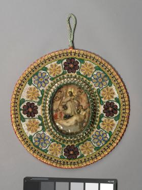 Religious wax picture in beaded frame: Christ Triumphant, with instruments of the Passion