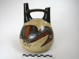 Double-spouted jar with bird motif