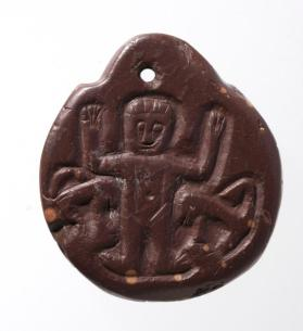 "Amulet engraved with an ""orans"" figure, ankh-shaped cross on reverse"