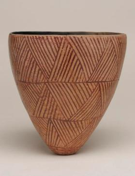 Conical bowl with weave pattern painting