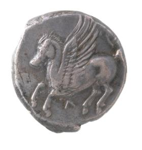 Stater with flying Pegasos and reverse of Athena in a Corinthian helmet