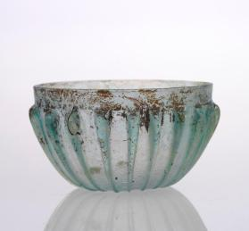 Light blue-green ribbed bowl