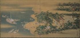 Screen painting: Boats arriving at Sumiyoshi Shrine