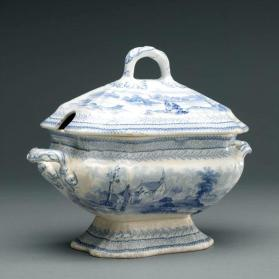 "Tureen in ""British America"" pattern with scenes ""Village of Cedars"" and ""River St. Lawrence"""