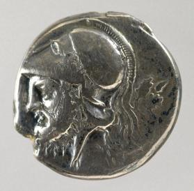 Didrachm coin depicting Mars in a Corinthian style helmet