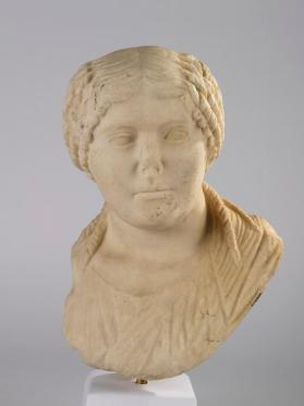 Bust of a woman with parted hair