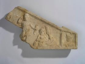 Pediment fragment with relief of gods Diana, Tiber, and Luna