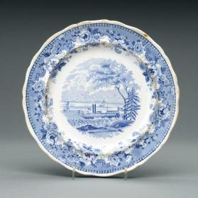 "Plate in ""Montreal"" pattern with scene of  Montreal from St. Helen's Island"