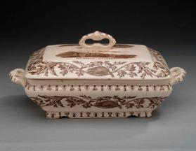 "Covered tureen in ""Quebec"" pattern with scene ""Cape Diamond"""