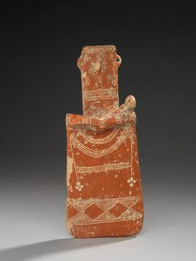 Plank-shaped votive figure of a woman and child, Red polished ware