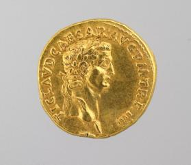Aureus coin with laureate head of Claudius