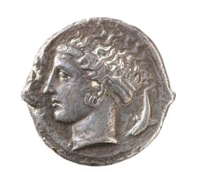 Tetradrachm with Nike flying above a quadriga (chariot), reverse head of Arethusa