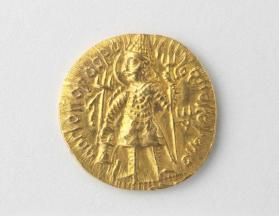 Stater with Vasudeva I holding trident while standing beside an altar