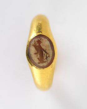 Ring inset with intaglio of goddess Fortuna