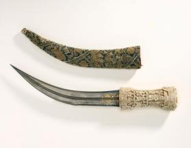 Khanjar or djambiya (curved dagger) with sheath