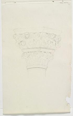 """Detail of Capital and Cornice,"" The Foscari Arch, Doge's Palace"