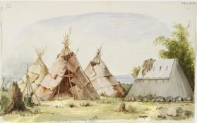 """Camp Scene with Bark Conical Lodges and a Canvas Tent,"" Southern Algonquian"