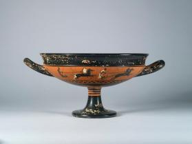 Attic black-figure cup showing chariots racing