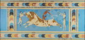 "Reproduction of the ""Bull-Leaping"" fresco from Knossos, Greece"