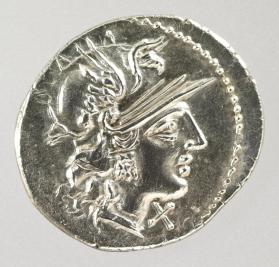 Denarius coin with helmeted head of Italia