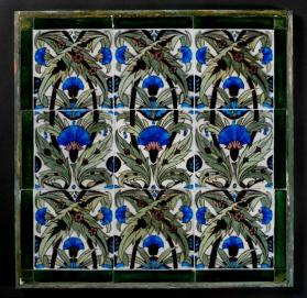 Floral tile panel with Islamic inspired designs