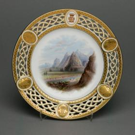 "Plate from the Lord Milton dessert service with scene ""The Terraces on the Fraser River"""