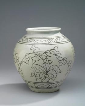Jar inlaid with peony foliage design 백자상감모란당초문호