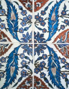 Tile panel with floral motifs