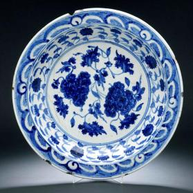 "Dish with Peony design, imitating early Ming porcelain, with ""heaped-and-piled"" brush"